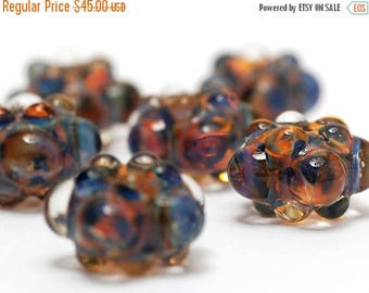 ON SALE 30% off Handmade Glass Lampwork Beads - Six Multi-Colored Rondelle Beads - Bubbly Raised 10504001