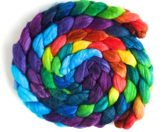 Polwarth/Silk 60/40 Roving - Handpainted Spinning or Felting Fiber, Storm's End