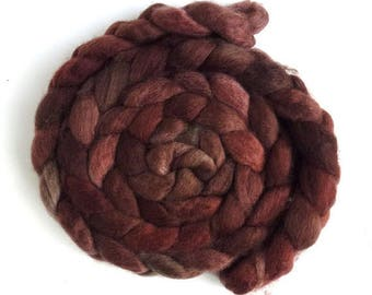 BFL Wool Roving - Hand Painted Spinning or Felting Fiber, Rust Shadows