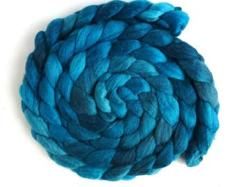 SALE: Irregular Polwarth/Silk Roving - Handpainted Spinning or Felting Fiber, Aqua Dusk