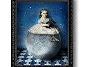 Moon Child Girl Rabbit Print Digital Art Night Sky Blue Grey Surreal Home Decor Bunny Star Astronomy Celestial