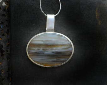 Agate Pendant, Ocean Necklace, Beach Jewelry, Simple Pendant, Artisan Jewelry, Gray Necklace, Sterling Silver, Mens Unisex Gift
