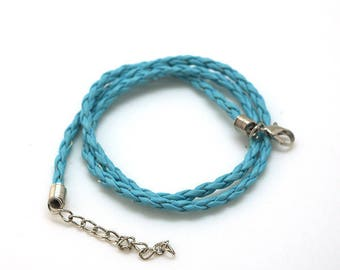 Faux braided leather - 3mm - with clasp - blue cord
