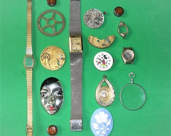 Vintage Watch Parts Vintage Watch Vintage Assemblage Lot Watch Optical Lens