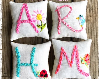 Valentine Gift Initial Mini Pillow with One Motif Simple Style Made to Order YelliKelli