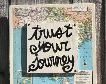 """Hand Made Collage Art Vintage Map Adventure Quote Outdoors Travel Gift """"Trust your journey"""""""