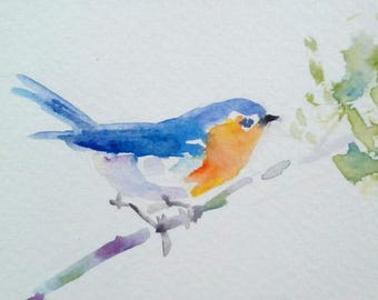 original watercolor painting ACEO bluebird ,2.5x3.5 inches