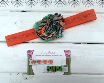 Headband and Alligator Clip Set- Halloween Hair Accessories- Orange, Black, and Green- Pumpkin Hair Clip