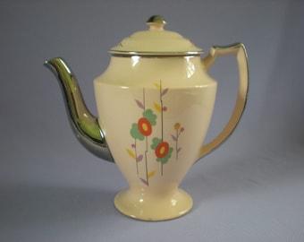 Art Deco Teapot, Retro Glassware, Tall Teapot-Shell Pink-Sebring Ohio