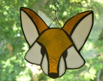 Fox Amazing Light brown and white  or Dark Brown or Purple Stained Glass