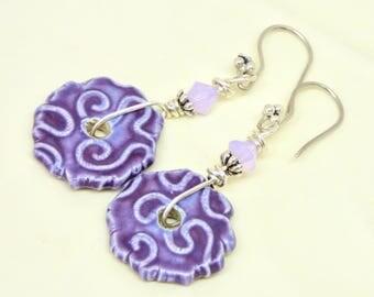 Purple Earrings, Lilac Textured Ceramic Geometric Dangles, Rustic Ultra Violet Jewelry, Handmade Sterling Silver Earring, Boho Earring, Gift