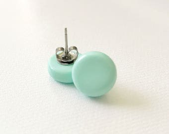 Aqua Earring Studs Polymer Clay, Bridal Earrings, Gifts for Her, Rustic Wedding Jewelry, Handmade Polymer Clay