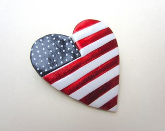 American Flag heart Pin Brooch Red, White, and Blue I love the USA