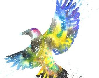 Flicker Woodpecker ORIGINAL Watercolor 9X12, Galaxy Spirit Animal