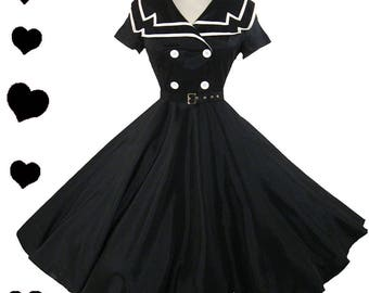 Black Sailor Dress Rockabilly USO New White Collar Full Skirt Belted Party Buttons Swing Dance Holiday S M L Xxl 1X 3X Pinup Short Sleeves