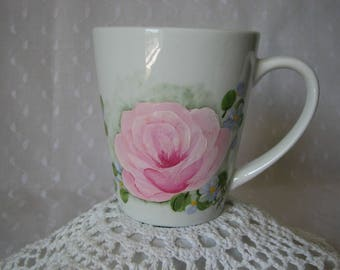 Coffee Mug Hand Painted Cottage Chic Pink Roses Purple flowers