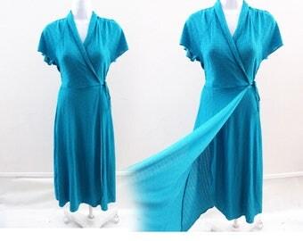Vintage Wrap Dress size M Teal Turquoise Blue Jersey DFV Disco Secretary Vtg 70s
