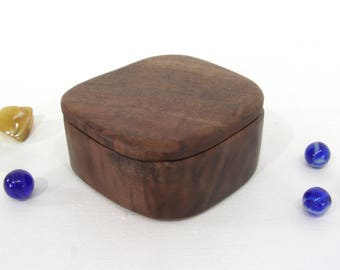 Black Walnut Wood Box, engagement ring box, proposal box, gift for groom, ring bearer box, guitar pick holder, wood anniversary, wood urn