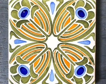 vintage decorative tile - hand painted ceramic trivet - Art Nouveau flower - orange blue green
