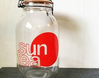 vintage glass beverage dispenser - Triomphe sun solar tea jar - 3 liter jar