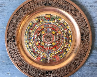 vintage copper tray - etched Aztec calendar - tribal global boho - decorative metal wall hanging