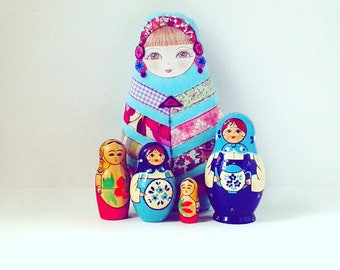 Patchwork Doll, Fabric Russian Doll, Babushka Doll, Handmade Cloth Doll, Matryoshka Doll, Fabric Doll Ornament, Collectable Doll