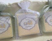 Baby shower Favors, elephant favors, yellow and gray baby shower favors, set of 10 soap favors