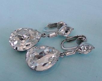 Vintage Diamond Crystal Earrings