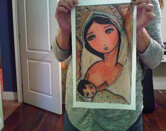 Maternity -  Print on Fabric from Original Painting (8 x 13.5 inches) by FLOR LARIOS