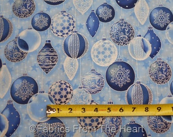 Winter's Graundeur Christmas Metallic Blue Frost Balls BY YARDS RK Cotton Fabric