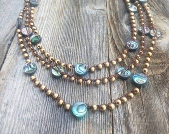 Abalone and Brushed Gold Glass Beaded Necklace // 3 Strand Necklace // Layered Necklace // Statement Necklace // Teal Gold // READY TO SHIP