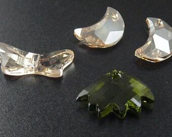 Grab Bag Swarovski Crystal Bead Pendants Dragonfly Half Moon Golden Shadow (225grab)