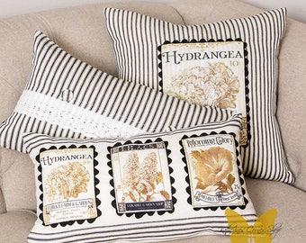 Ticking Stripe Hydrangea Pillow