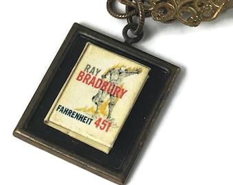 Fahrenheit 451 Hidden Book Necklace Tiny Readable Book Ray Bradbury Author Science Fiction