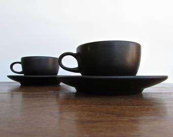 Edith Heath Pottery of California, Teacup & Saucer, Black on Black w/ Vellum Finish, Heath Coupe Line, American Modern Design