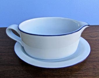 Dansk Christianshavn Blue Gravy Boat & Underplate Portugal, Danish Modern Design