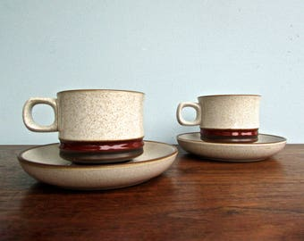 Potter's Wheel Denby Langley Stoneware, Made in England, Potter's Wheel Rust-Red, Pair of Coffee Cups & Saucers- 7 Pairs Available