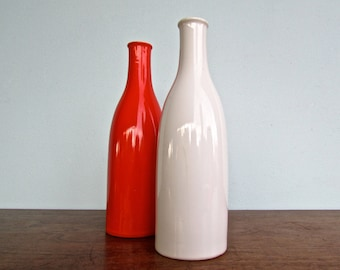 Pair of Tall Takahashi Vintage Condiment Bottles, Set of Cadmium Dark Orange & White Porcelain Bottles, Modern Design Japan