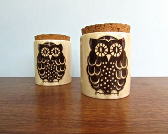 Wächtersbach German Owl Canisters, 2 Vintage Light-Ocher colored, Cork topped containers, MCM Germany