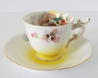 Vintage Demitasse Cup and Saucer  Yellow With Pansies