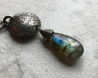 Labradorite Sterling Silver Hammered Disc Necklace - Labradorite Pendant on Sterling Silver Chain