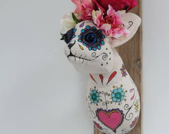Day of the dead cat sculpture. Flower crown kitty, handmade textile wall art fauxidermy. OOAK taxidermy. Dia de los muertas.