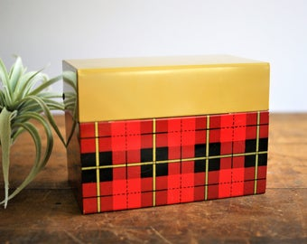 Vintage Plaid Recipe Box by Ohio Art with Original Dividers Red Black and Mustard Yellow, Back to School, Dorm Room Decor Fall Organizer