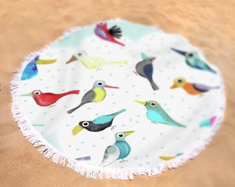 "Round Towel Birds -  60"" in diameter - My made with tons of smiles drawings - KIDS HOME DECOR 2017"