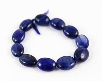 10% OFF SALE Blue Sapphire Oval Bead - Set of 11 - Blue Sapphire Beads - 10mm