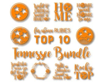 Tennessee Bundle Top 10 Bestselling Designs - Each Design includes SVG, EPS, dxf, png, jpg format digital cut files for Silhouette or Cricut
