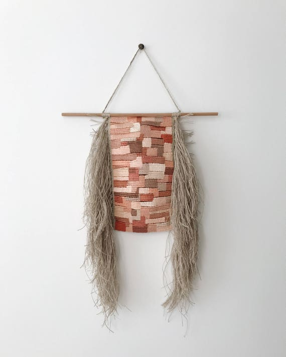 pinks | hand woven wall hanging | tapestry weaving