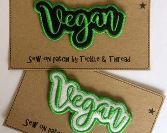 Sew on Word Patch - Vegan - Black or White