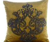 Decorative Pillow Sham Covers Pillow Sham Sofa Bed 24x24 Lemon Grass Velvet Pillow Sham Cover Bead Embroidered Pillow Case - Lord Medusa