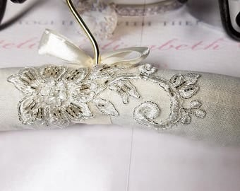 Wedding Dress Hanger with Silver Beaded Lace, Custom Bridal Hanger, Photography Prop, Wedding Gift, OOAK, Ready to Ship